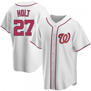 Youth Washington Nationals Brock Holt White Home Jersey - Replica