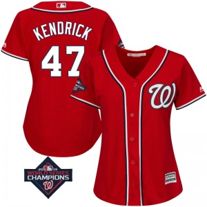 Women's Majestic Washington Nationals Howie Kendrick Scarlet Cool Base Alternate 2019 World Series Champions Patch Jersey - Auth