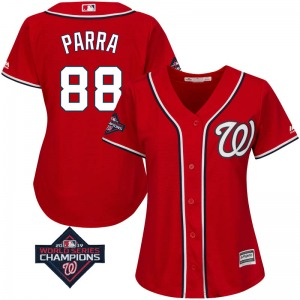 Women's Majestic Washington Nationals Gerardo Parra Scarlet Cool Base Alternate 2019 World Series Champions Patch Jersey - Authe
