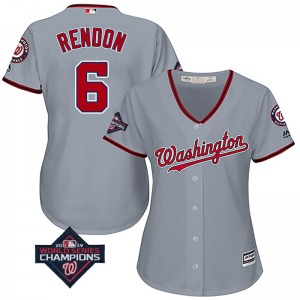 Women's Majestic Washington Nationals Anthony Rendon Gray Cool Base Road 2019 World Series Champions Patch Jersey - Replica