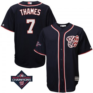 Men's Majestic Washington Nationals Eric Thames Navy Cool Base Alternate 2019 World Series Champions Patch Jersey - Replica