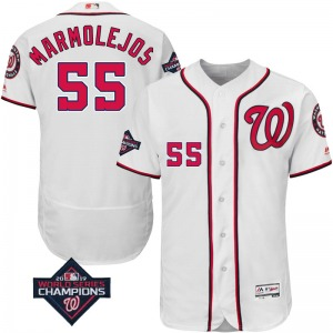 Men's Majestic Washington Nationals Jose Marmolejos White Flex Base Home Collection 2019 World Series Champions Patch Jersey - A
