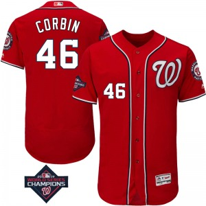 Men's Majestic Washington Nationals Patrick Corbin Scarlet Flex Base Alternate Collection 2019 World Series Champions Patch Jers