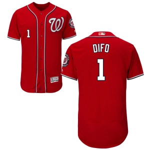 Men's Majestic Washington Nationals Wilmer Difo Scarlet Alternate Flex Base Collection Jersey - Replica